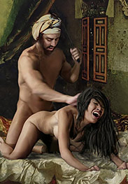 Slavegirls in an oriental world - She looked irresistible hanging in ropes for her daily flogging with the riding crop by Damian